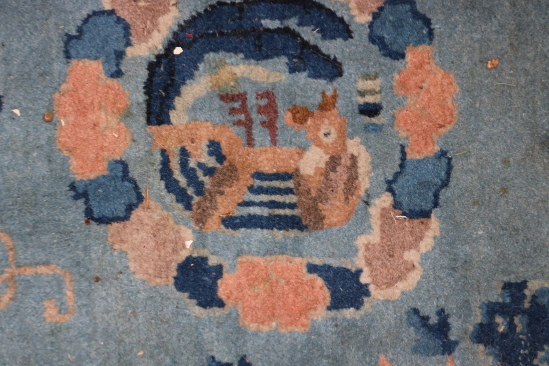 SEMI ANTIQUE CHINESE AREA RUG WITH DRAGON CENTER, - 5