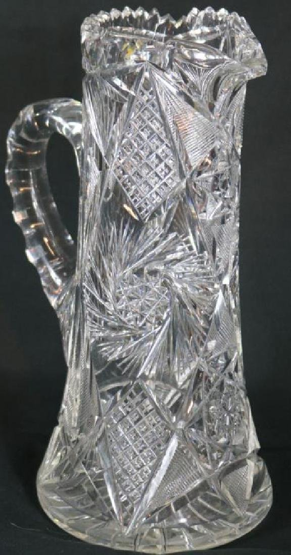 """TALL CUT GLASS HANDLED PITCHER, 11"""" H, NO VISIBLE"""