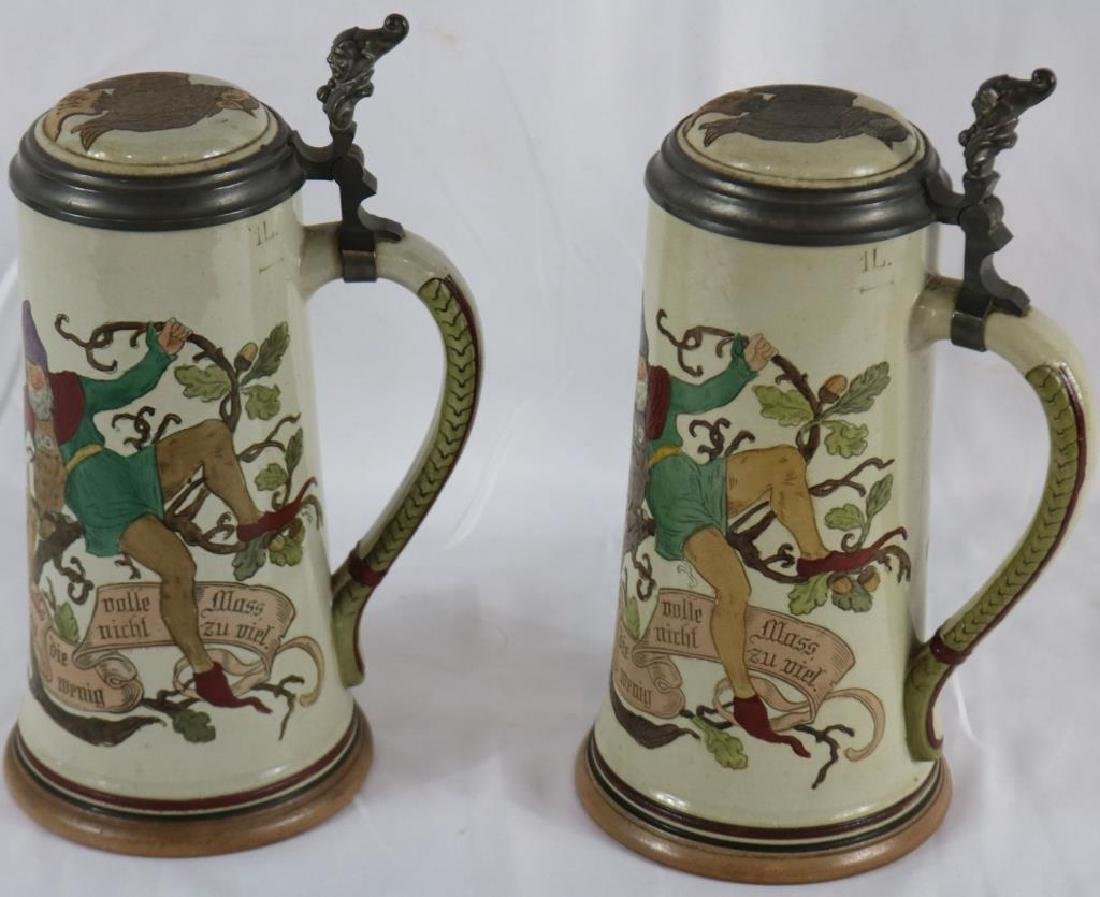 TWO INCISED GERMAN STONEWARE STEINS WITH GNOME & - 3