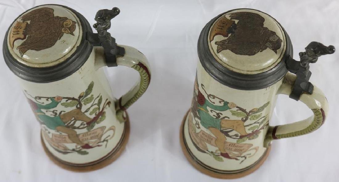 TWO INCISED GERMAN STONEWARE STEINS WITH GNOME & - 4
