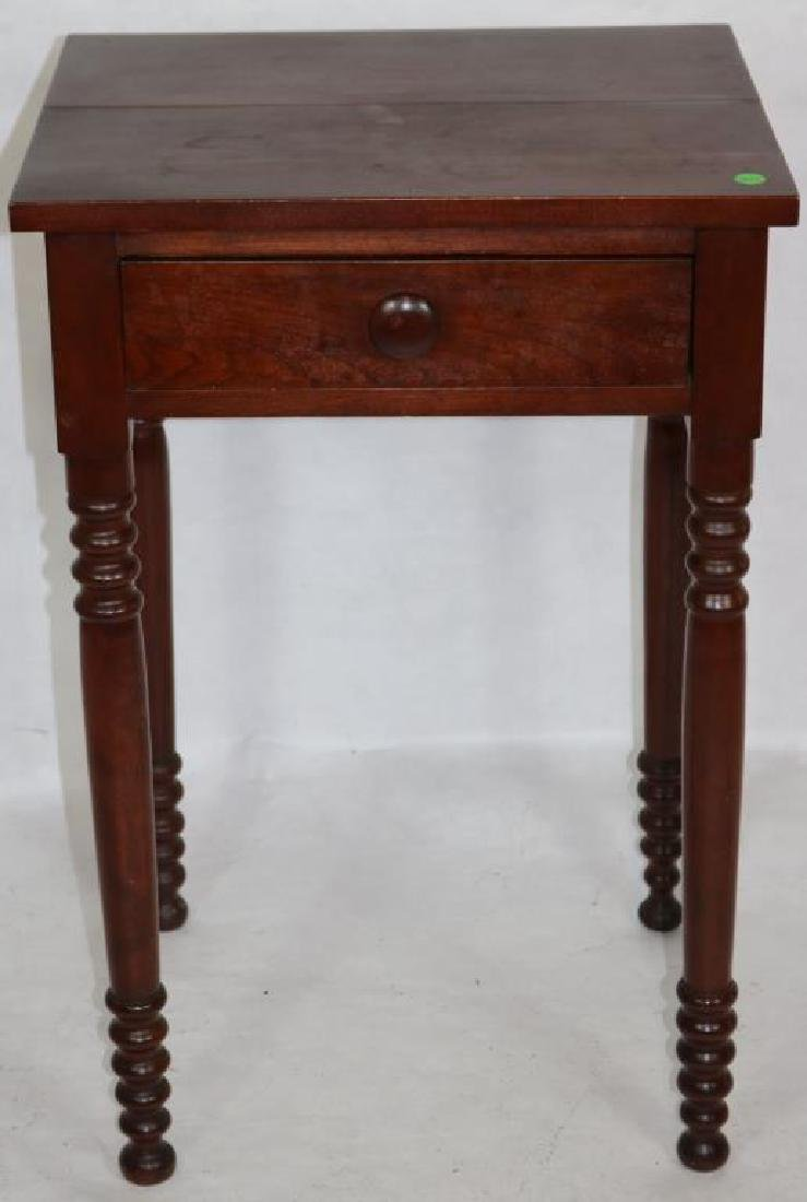 19TH C. CHERRY 1 DRAWER STAND, TURNED LEGS, 28
