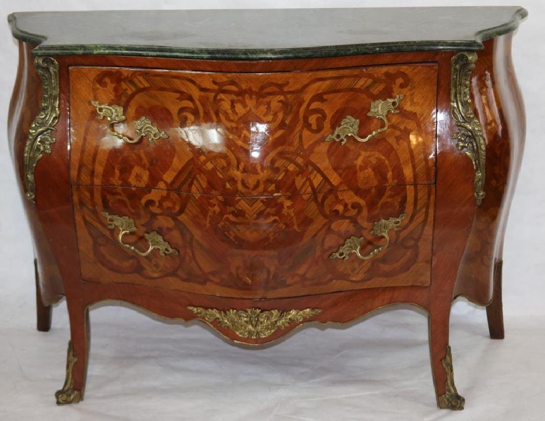 LATE 20TH C. FRENCH STYLE INLAID MARBLE TOP BOMBE