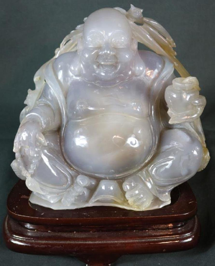 20TH C. CARVED HARD STONE BUDDHA, POSSIBLY JADE,