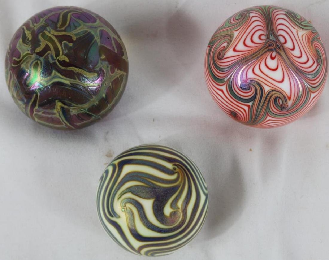 3 ART GLASS PAPER WEIGHTS TO INCLUDE KING TUT