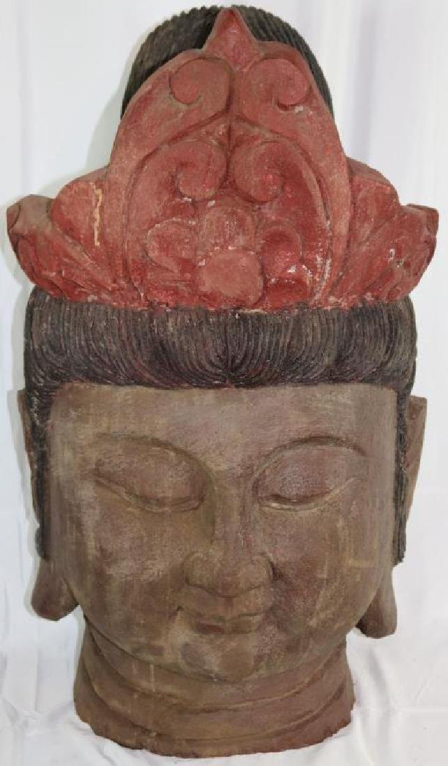 LARGE CARVED & PAINTED WOOD BUDDHA HEAD, 20TH C.