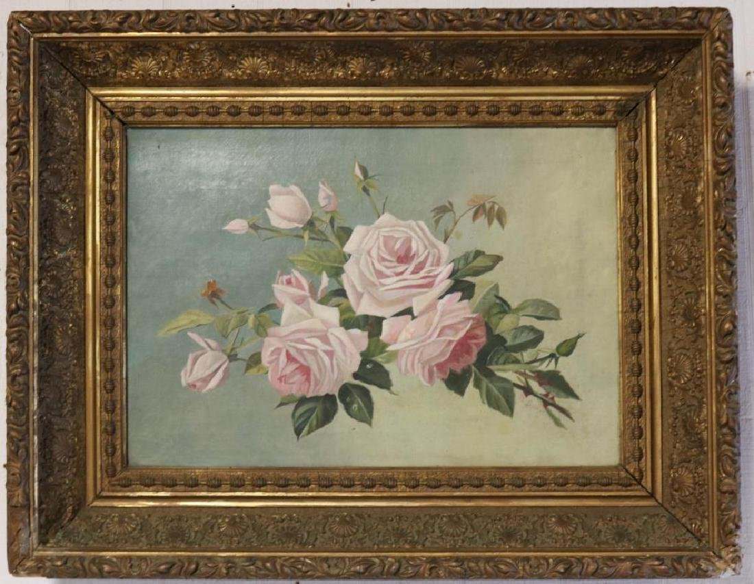 LATE 19TH C. OIL ON CANVAS, STILL LIFE OF ROSES