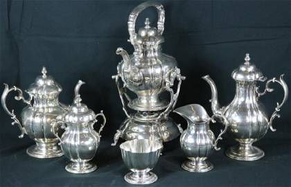 HEAVY MEXICAN STERLING SILVER TEA SET IN 18TH C.