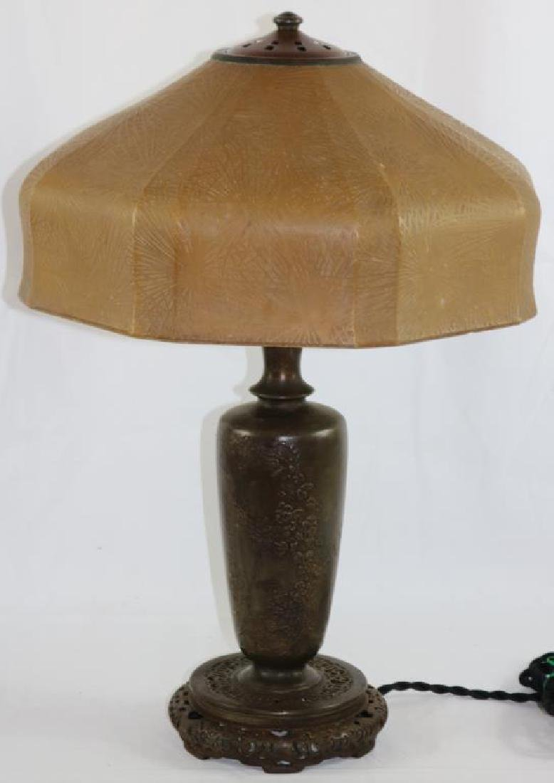 SIGNED HANDEL LAMP WITH PINE NEEDLE STYLE SHADE