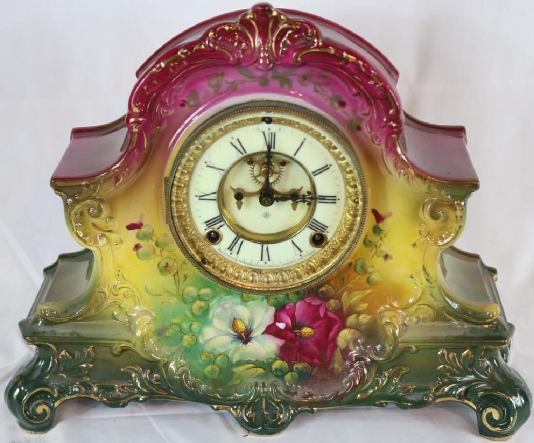 ROYAL BONN PORCELAIN CLOCK WITH ANSONIA MOVEMENT,