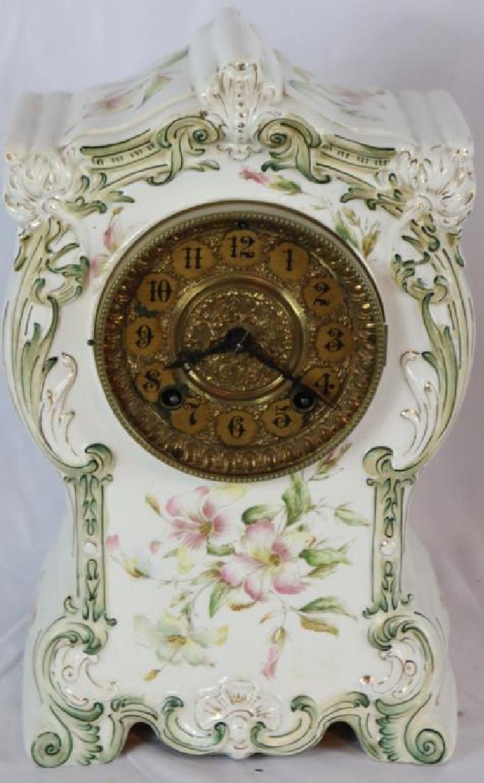 GILBERT SHELF CLOCK WITH PORCELAIN CASE, FLORAL