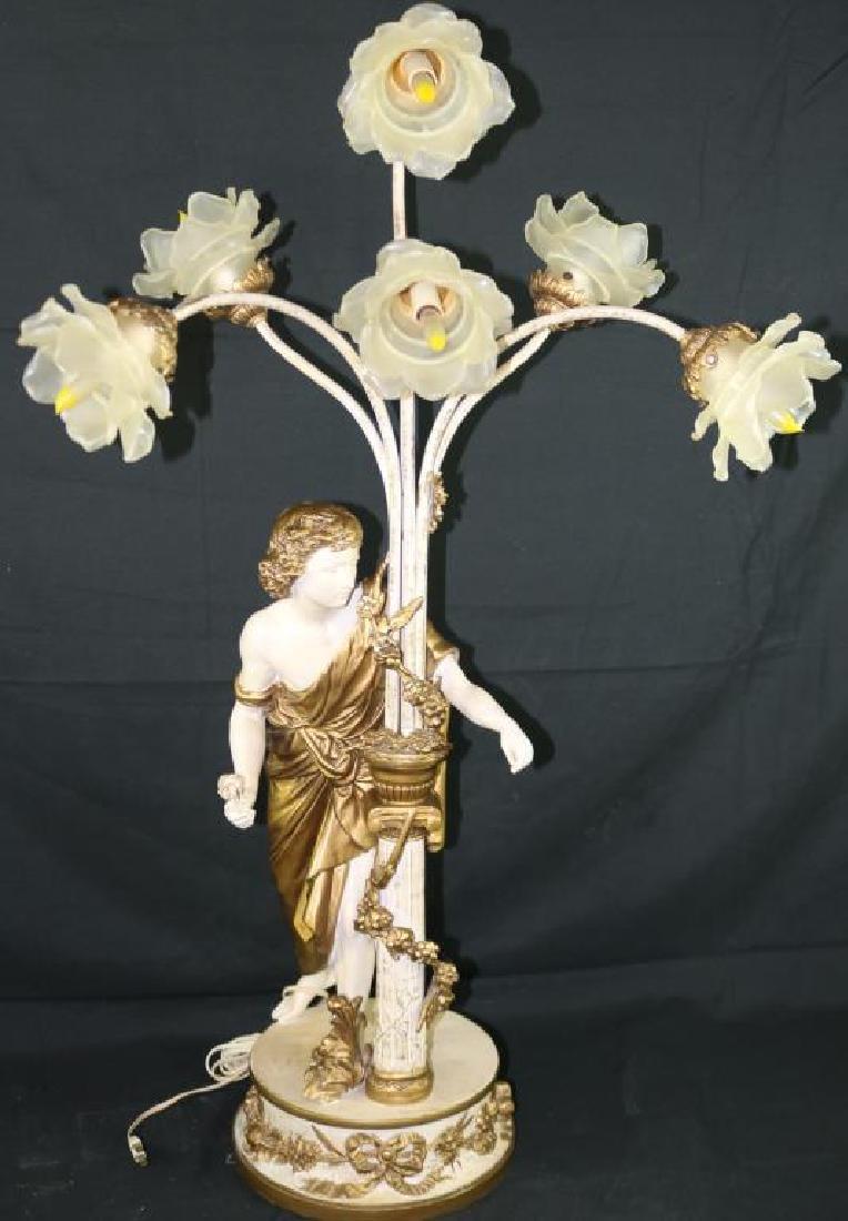 20TH C. FIGURAL 6 LIGHT LAMP, FLORAL DESIGN