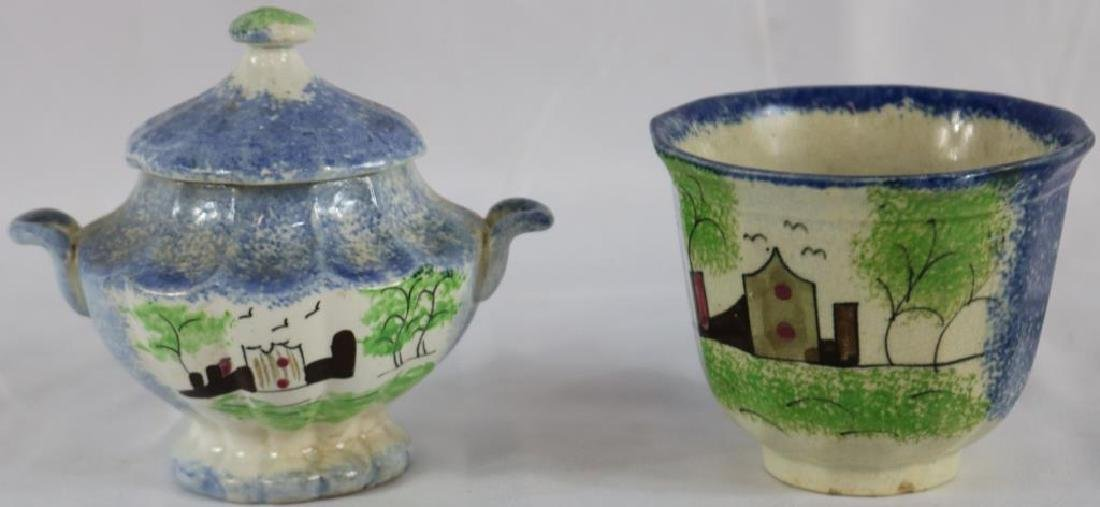 2 PCS. EARLY SPATTER WARE WITH DECORATION TO