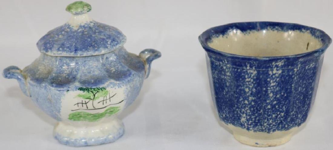 2 PCS. EARLY SPATTER WARE WITH DECORATION TO - 2