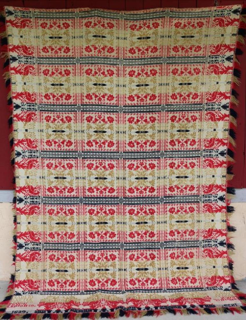 1839 JACQUARD COVERLET MADE BY S. KUTER