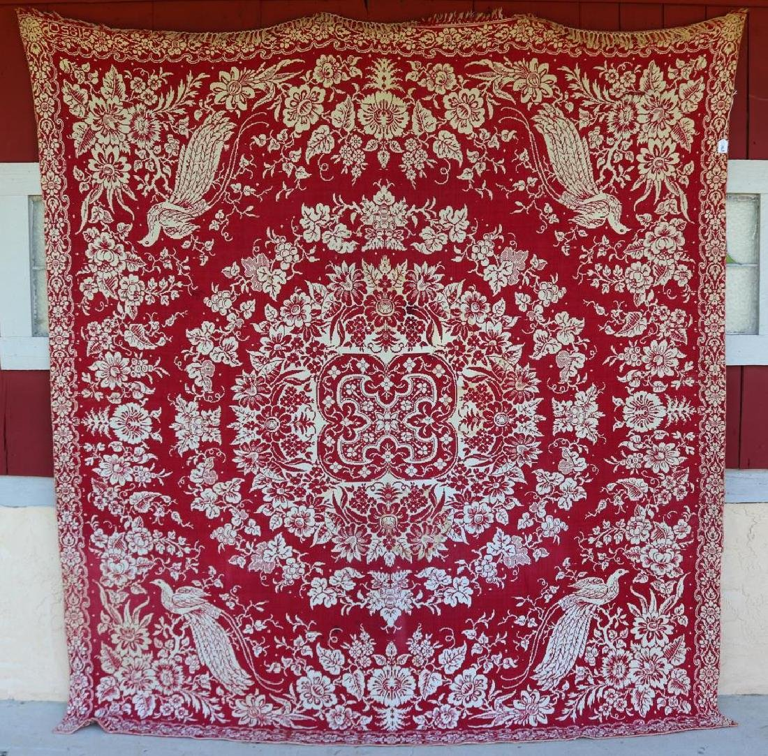 1850 RED & WHITE SUMMER/WINTER COVERLET WITH BIRD