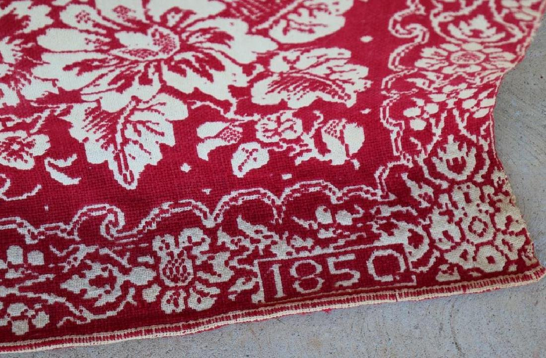 1850 RED & WHITE SUMMER/WINTER COVERLET WITH BIRD - 2