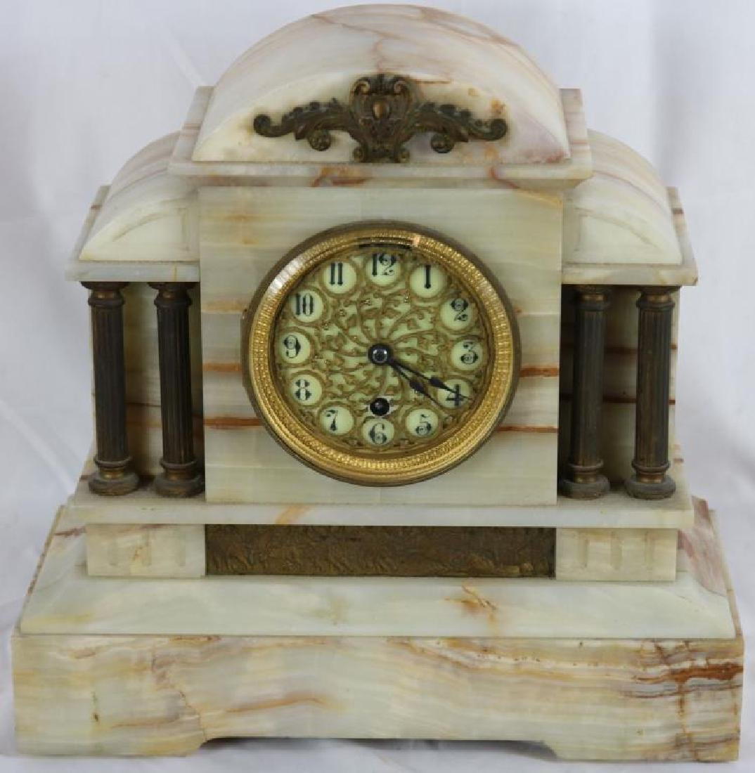 19TH C. ONYX BOSTON CLOCK CO. MANTLE CLOCK WITH