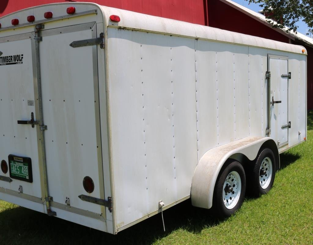 1998 TIMBER WOLF COVERED TRAILER, 7000 GVW, - 2