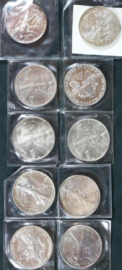 COLLECTION OF 10 WALKING LIBERTY 1 OZ FINE SILVER