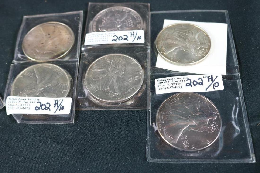COLLECTION OF 10 WALKING LIBERTY 1 OZ FINE SILVER - 2