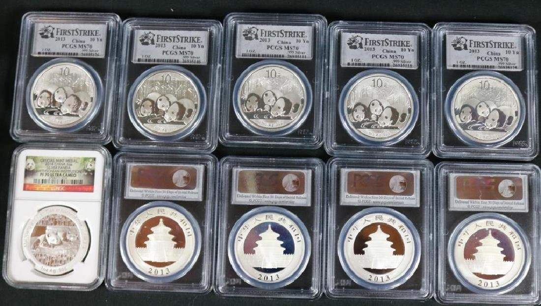 COLLECTION OF (9) 2013, (1) 2014 PCGS MS-70