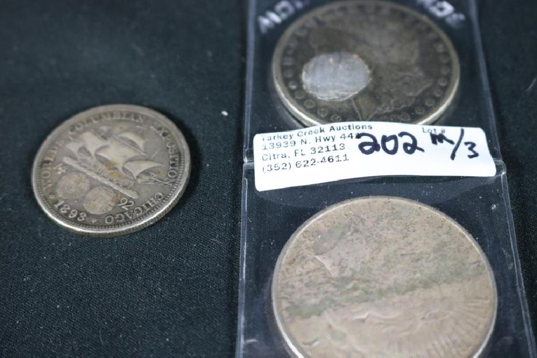 LOT OF 3 US SILVER COINS TO INCLUDE 1884 MORGAN, - 3