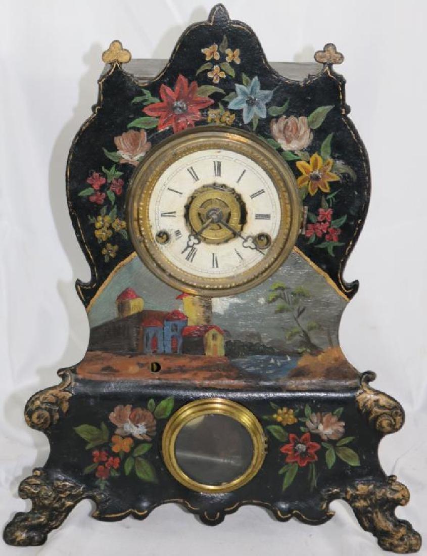 19TH C. PAINTED IRON SHELF CLOCK WITH ALARM