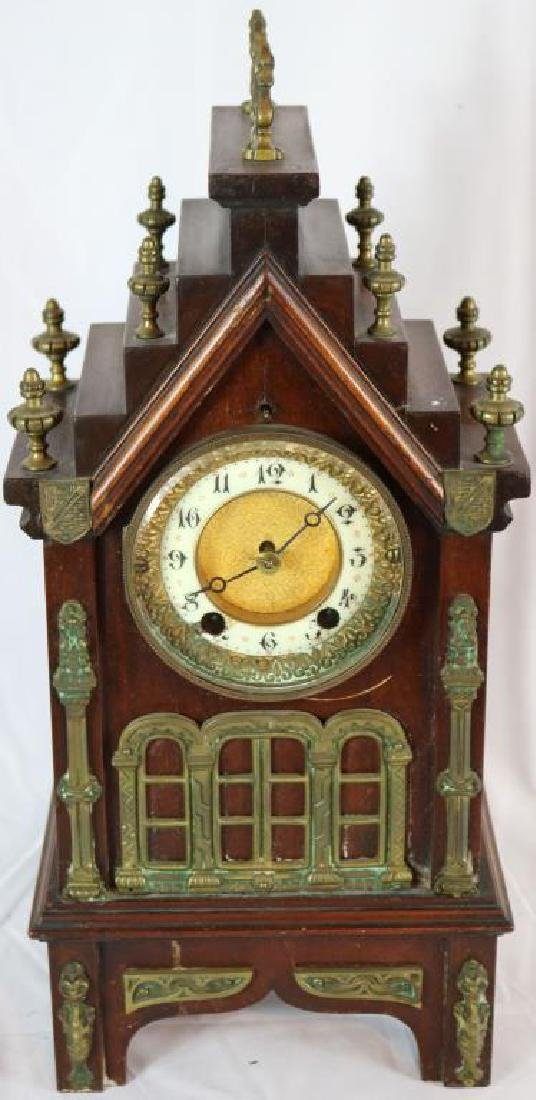 UNUSUAL GOTHIC CATHEDRAL STYLE SHELF CLOCK WITH
