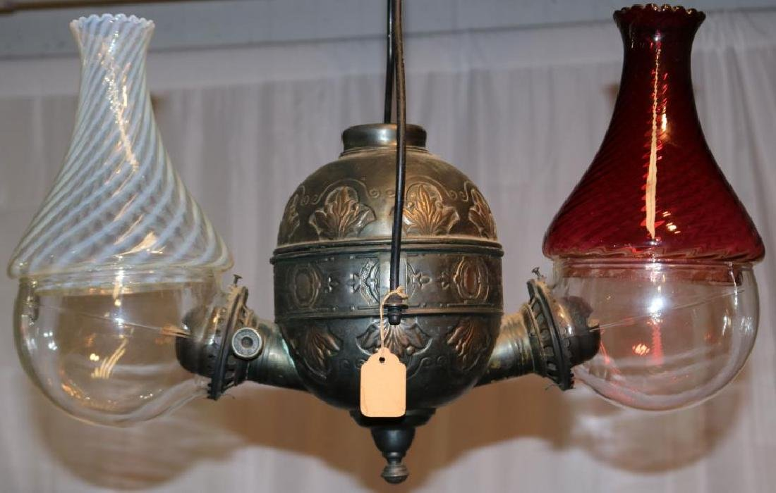 19TH C. PULL DOWN DOUBLE ANGLE LAMP,