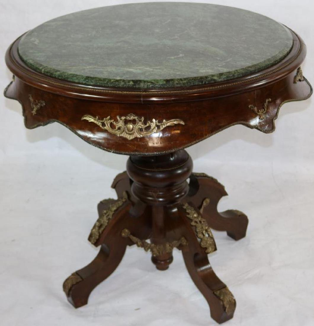 CONTEMPORARY FRENCH STYLE MARBLE TOP TABLE, FANCY