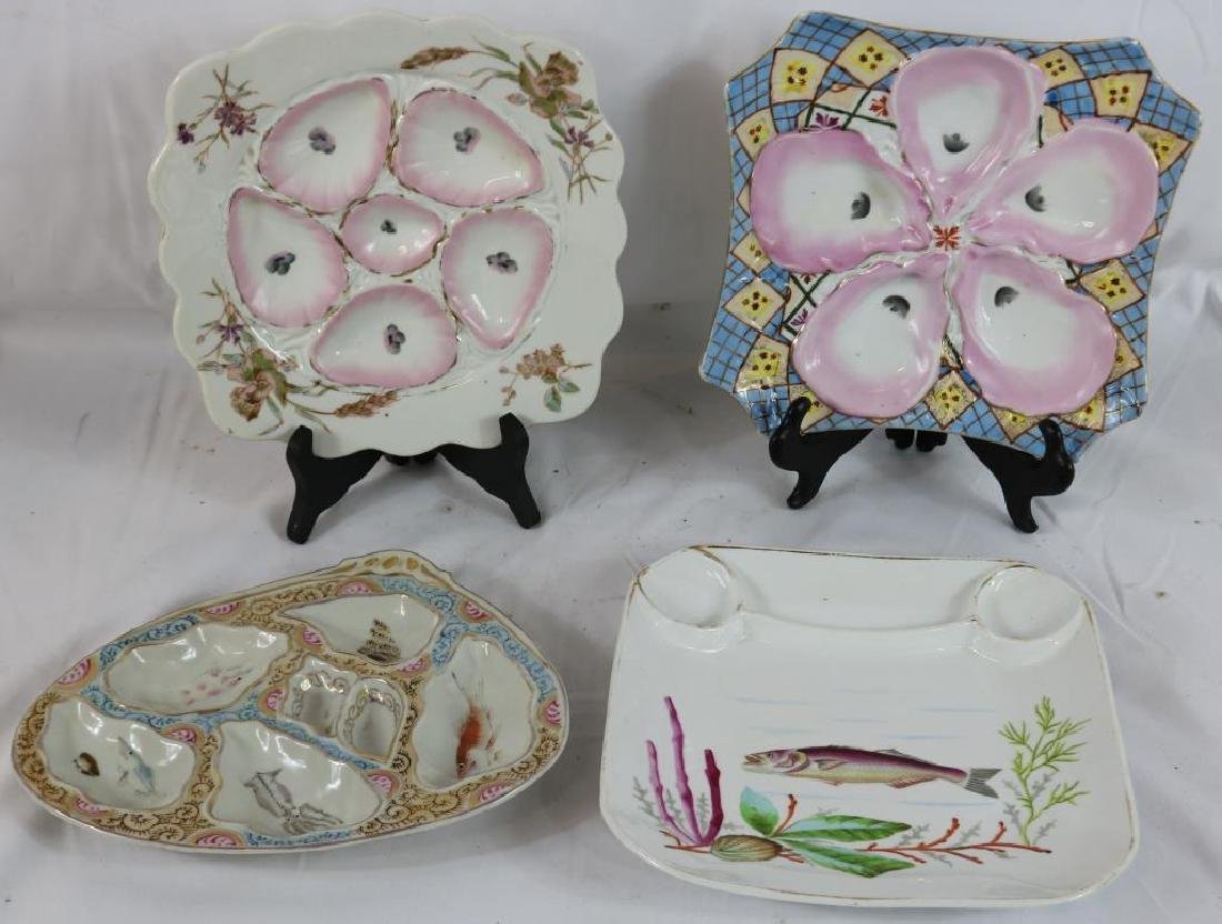 LOT OF 4 UNUSUAL OYSTER PLATES TO INCLUDE 2