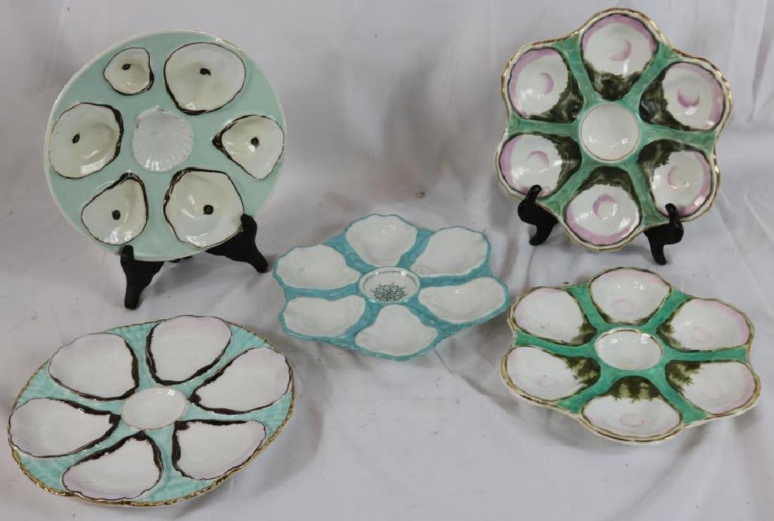 """LOT OF 5 PORCELAIN OYSTER PLATES, 1 MARKED CT. 9"""""""