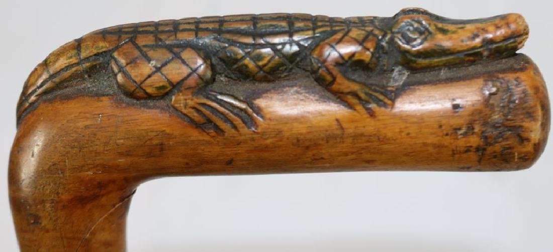 TWO LATE 19TH C. FOLK CARD ALLIGATOR DECORATED - 3