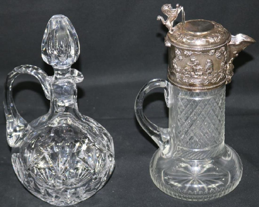 CUT GLASS HANDLED PITCHER WITH ORNATE SILVER - 2