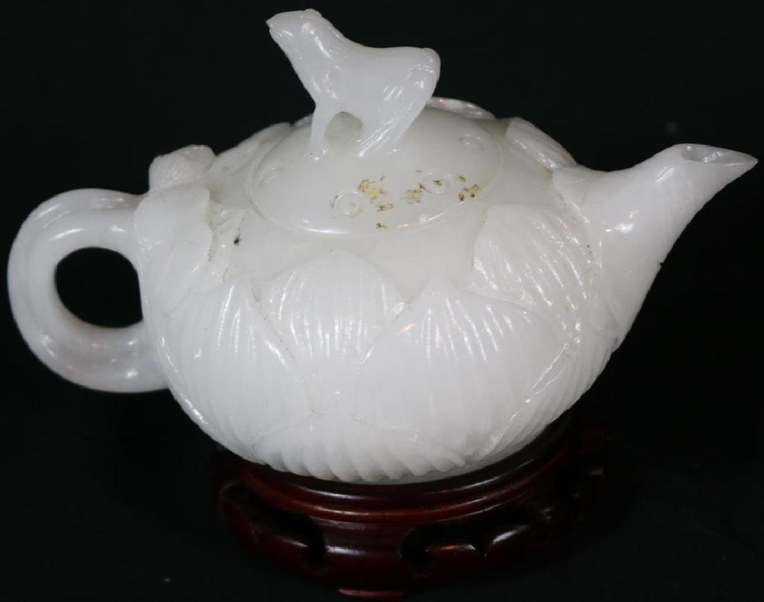 CARVED WHITE JADE TEAPOT WITH FROG FINIAL ON - 2