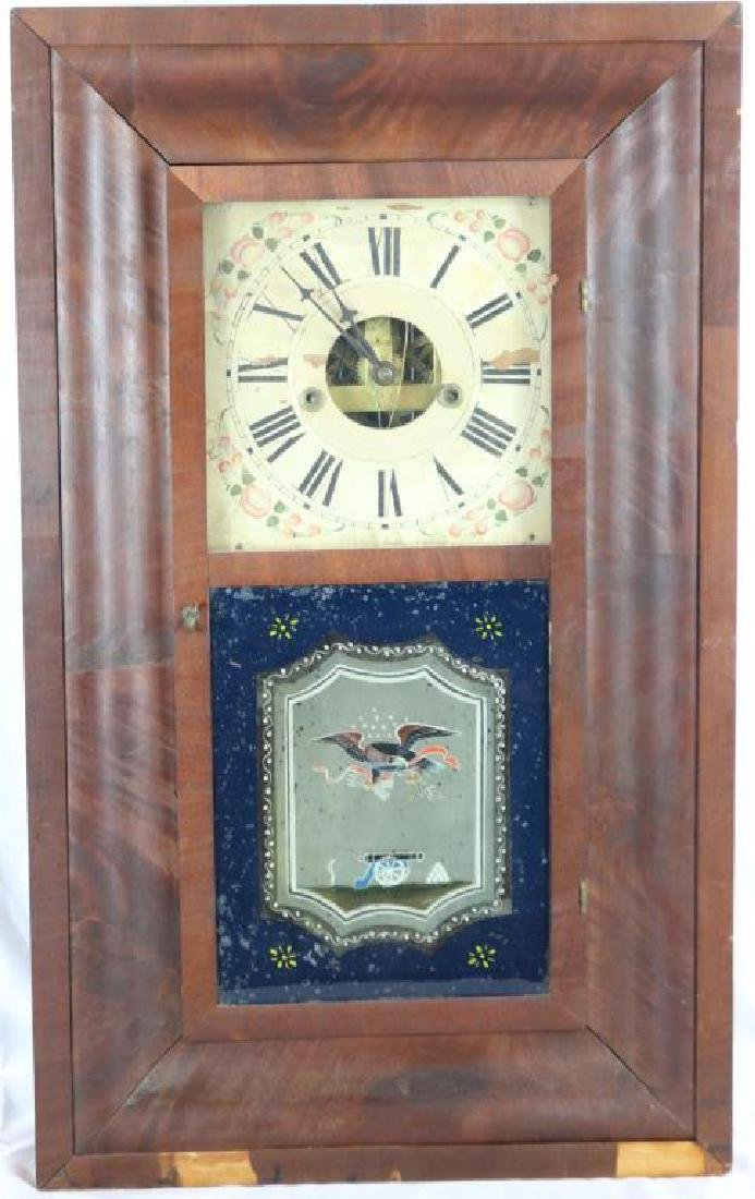 19TH C. WEIGHT DRIVEN SHELF CLOCK, PAINTED