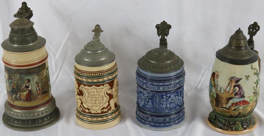 LOT OF 4 GERMAN STONEWARE STEINS ONE WITH INCISED