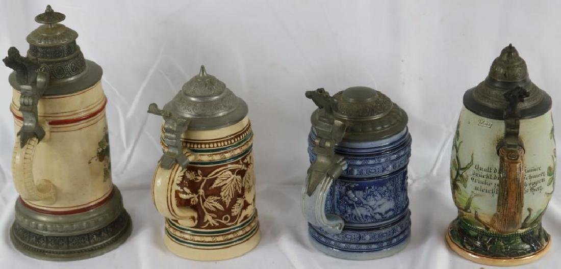 LOT OF 4 GERMAN STONEWARE STEINS ONE WITH INCISED - 2