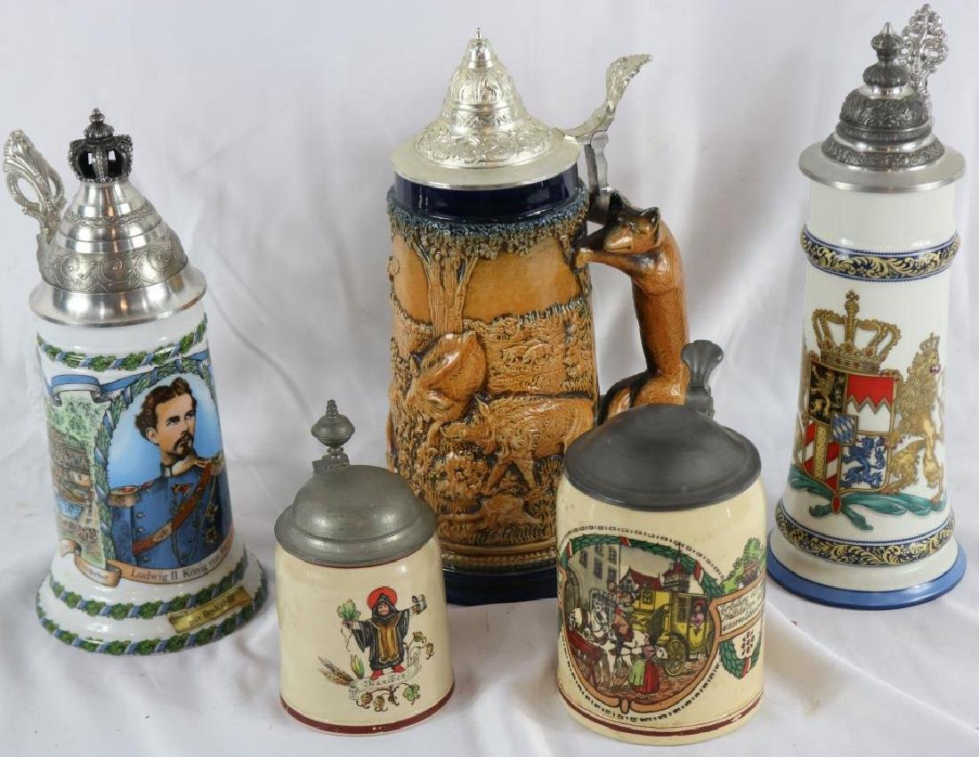 COLLECTION OF FIVE 20TH C. STEINS, GERMAN,