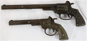 2 EARLY CAST IRON LONG BARREL CAP GUNS TO INCLUDE