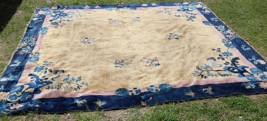 ANTIQUE CHINESE ORIENTAL RUG, REDUCED WITH BIRD &