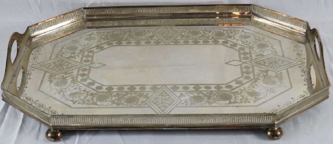 LATE 19TH C. FITTED TRAY WITH GALLERY & HANDLES