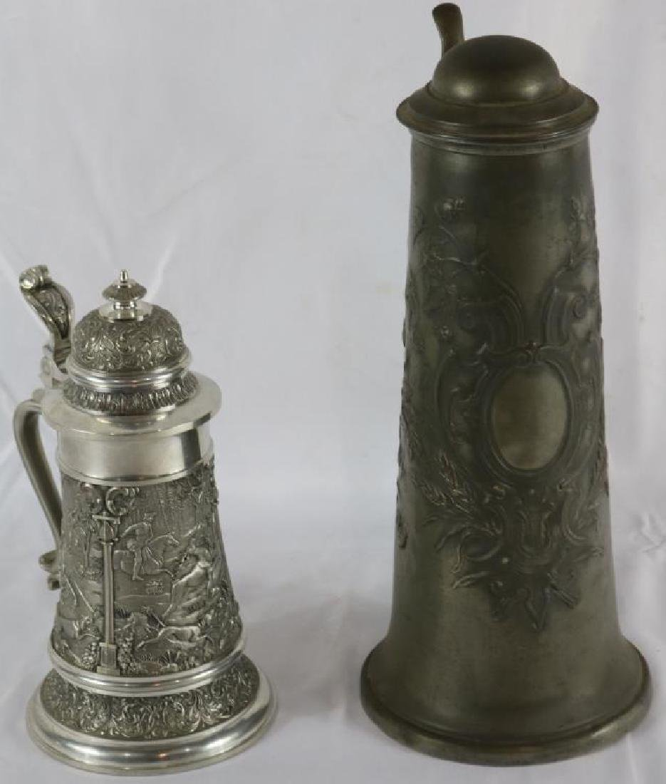 "LATE 19TH PEWTER STEIN, 12 1/2"" H, TOGETHER WITH"
