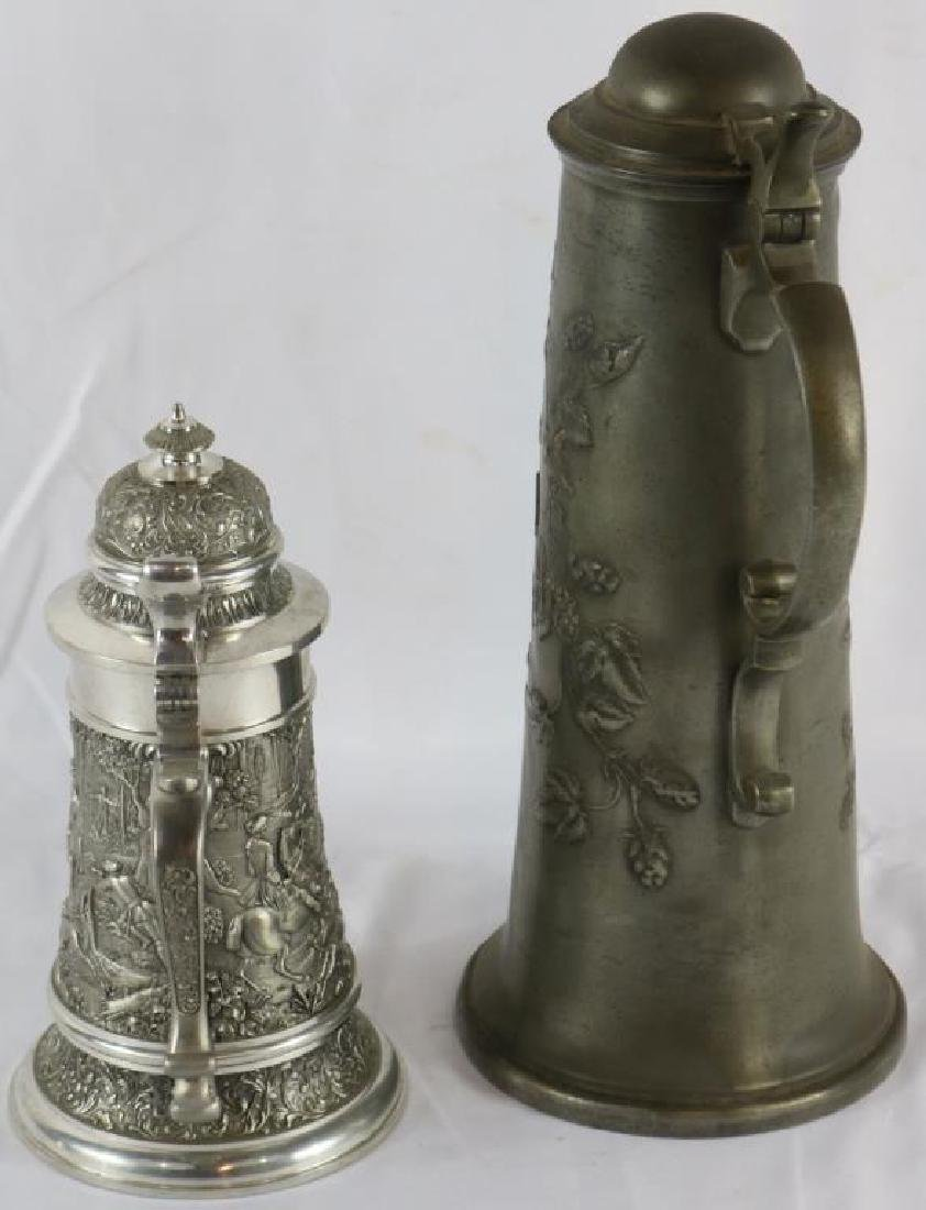 "LATE 19TH PEWTER STEIN, 12 1/2"" H, TOGETHER WITH - 2"