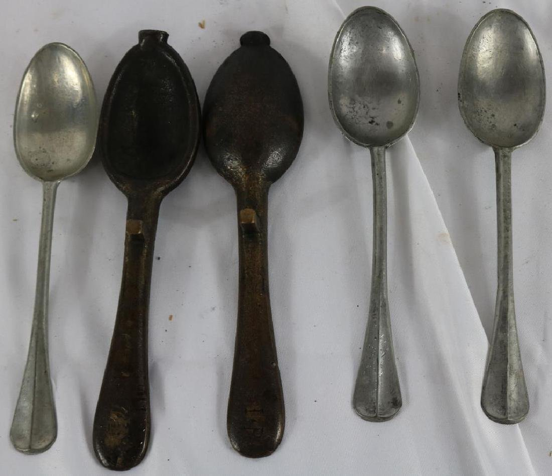 19TH C. BRONZE SPOON MOLD TOGETHER WITH 3 PEWTER - 2