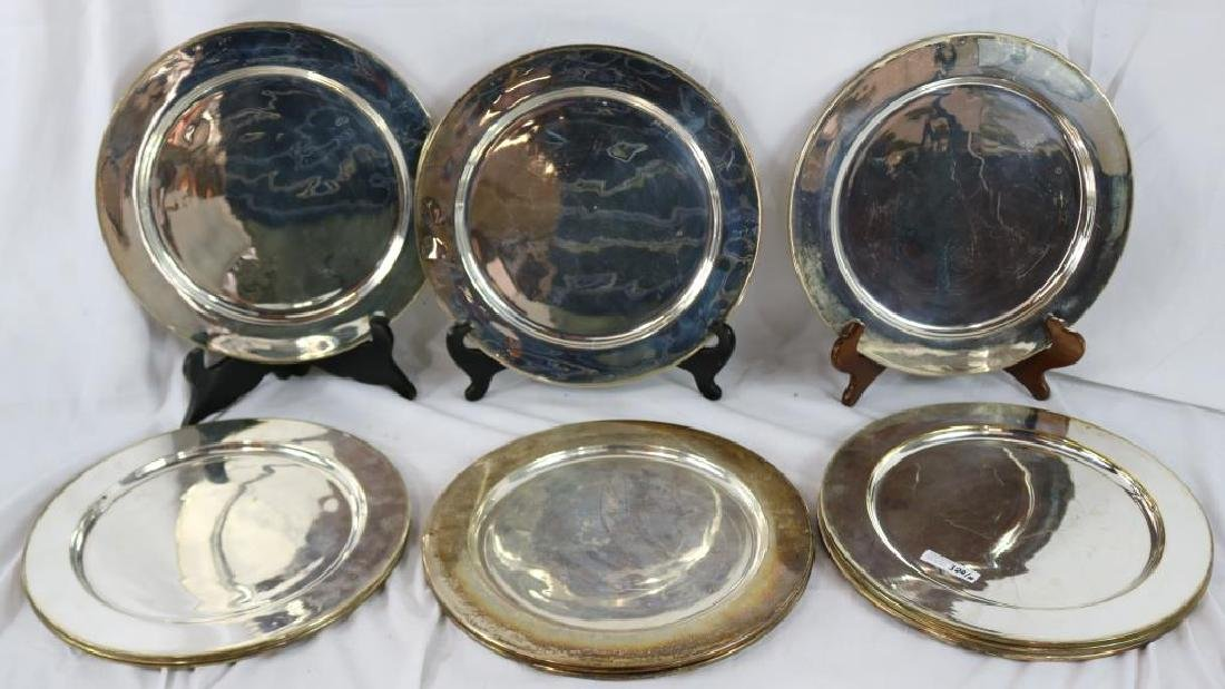 """SET OF TEN 12"""" MEXICAN SILVER ON COPPER PLATES"""