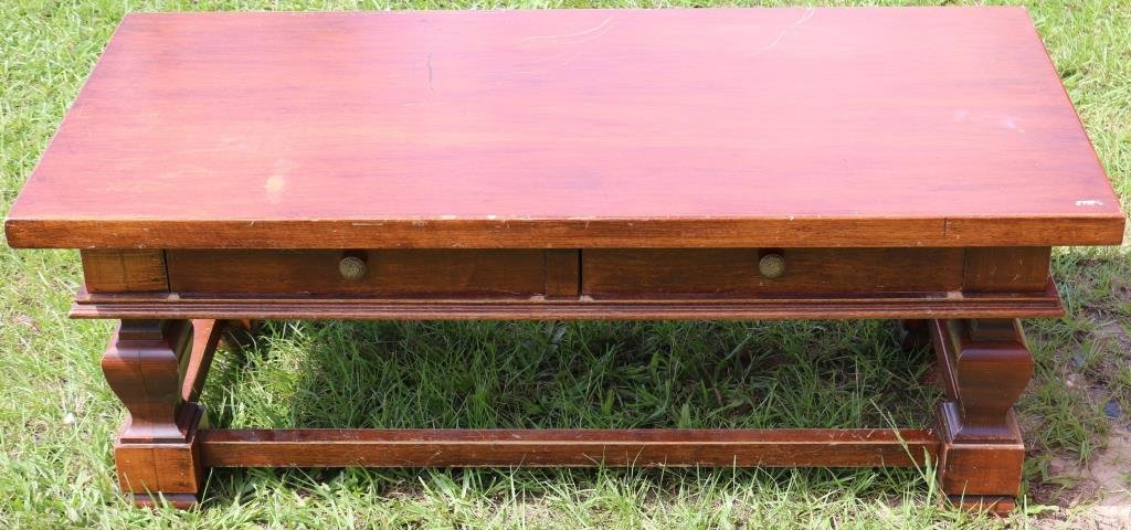 CONTEMPORARY WOOD MAHOGANY 2 DRAWER COFFEE TABLE