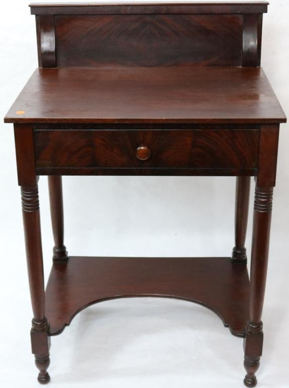 19TH C. MAHOGANY 1 DRAWER STAND, TURNED LEGS, CUT