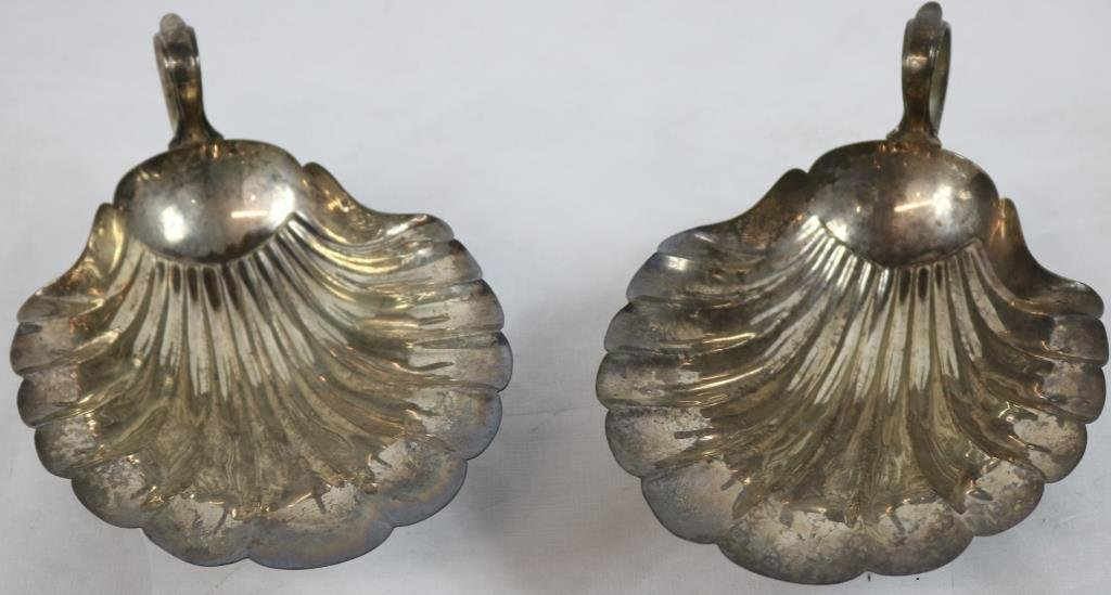 2 STERLING SILVER SHELL FORM FOOTED HANDLED
