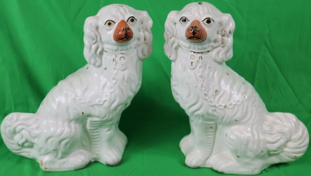 """PAIR OF 19TH C. STAFFORDSHIRE DOGS, 12"""" H,"""